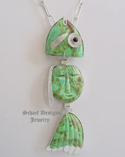 Buddy Lee Fish Native American carved turquoise & sterling silver fish pendant with movable parts | New Mexico