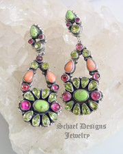 Leo Feeney Rare Gaspeite Angel Coral Pink Tourmaline & Peridot Dangle POST Earrings  | upscale online  Southwestern turquoise jewelry boutique gallery | Schaef Designs artisan handcrafted Jewelry | New Mexico