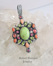 Leo Feeney RARE Gaspeite Angel Coral Pink Tourmaline & Peridot Pendant | Southwestern turquoise jewelry | online upscale native American jewelry boutique gallery| Schaef Designs Southwestern turquoise Jewelry | New Mexico