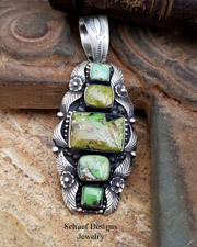 Native American Gaspeite & Sterling Silver Pendant | Schaef Designs | New Mexico