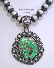 Specimen Large Green Carico Lake & sterling silver artist signed D LIvingston native american pendant | Schaef Designs | New Mexico