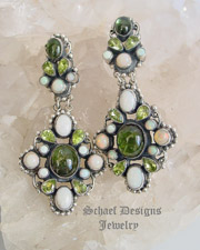 Leo Feeney Indicolite Greeen Tourmaline Peridot & Opal Earrings | Schaef Designs | New Mexico