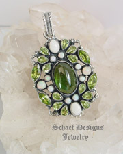 Leo Feeney Indicolite Green Tourmaline Peridot and Opal Pendant | Schaef Designs | New Mexico