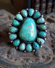 B. Johnson Carico Lake Turquoise & Sterling Silver Cluster Ring Size | New Mexico