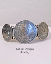 Native American Half Dollar Quarter Old Coin Cuff Bracelet | New Mexico