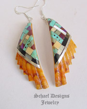 Warren Neita Santa Domingo Artist Inlaid Spiny Oyster Shell Earrings | New Mexico