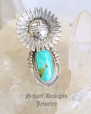 Bennie Ration Turquoise & Sterling Silver Ring SIZE 7 | New Mexico