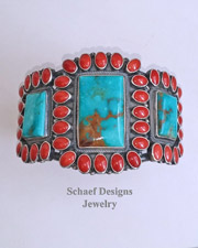Kirk Smith Turquoise Mediterranean Coral & Sterling Silver Cuff Bracelet | New Mexico