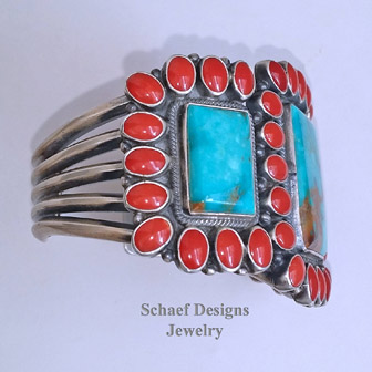 Kirk Smith turquoise, Mediterranean coral & sterling silver collectible cuff bracelet | Schaef Designs Jewelry | New Mexico