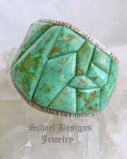 Ken Kirkbride Bad Boys Cripple Creek Turquoise & Sterling Silver Cobblestone Inlaid Cuff Bracelet | Protoge of Charles Loloma | Southwestern turquoise jewelry | online upscale native American jewelry boutique gallery| Schaef Designs Southwestern turquoise Jewelry | New Mexico
