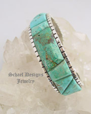 Ken Kirkbride Burtis Blue Cripple Creek Turquoise & Sterling Silver Cobblestone Inlaid Cuff Bracelet| Protoge of Charles Loloma | online upscale native American jewelry boutique gallery| Schaef Designs Southwestern turquoise Jewelry | New Mexico