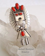 Vintage artist signed red coral & sterling silver large kachina pendant pin | online upscale native American jewelry boutique gallery| Schaef Designs Southwestern turquoise Jewelry | New Mexico