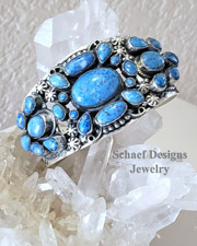 Leo Feeney Denim Lapis & Sterling Silver Old Style Large Cluster Cuff Bracelet | Schaef Designs | Arizona
