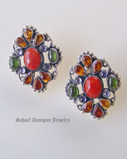 Leo Feeney Mediterranean coral peridot iolite citrine gemstone clip earrings | upscale online southwestern,  turquoise, native american & equine jewelry boutique gallery | Schaef Designs artisan handcrafted Jewelry |New Mexico