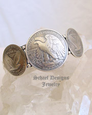 Liberty Eagle Half Dollar & Quarters Old Coin Cuff Bracelet | Schaef Designs Native American turquoise jewelry | New Mexico