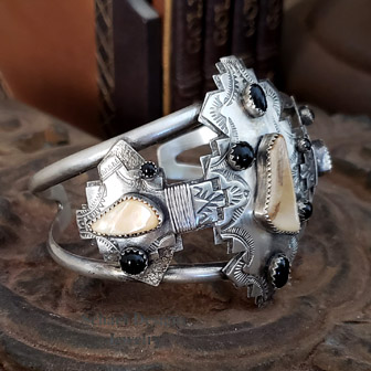 TA Mammoth ivory, black onyx and sterling silver cuff bracelet | Schaef Designs | NEW Mexico