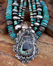 Turquoise Matrix & Sterling Silver Pendant | New Mexico