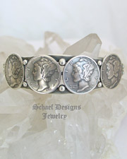 Mercury Dime Old Coin Sterling Silver Cuff Bracelet | New Mexico