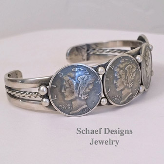 Morgan Dollar, Walking Liberty Half Dollar Sterling Silver Indian Old Coin Cuff Bracelet | Schaef Designs | New Mexico