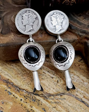 Schaef Designs Mercury Dime Shadow Box Onyx Squash Blossom Sterling Silver POST Earrings | New Mexico