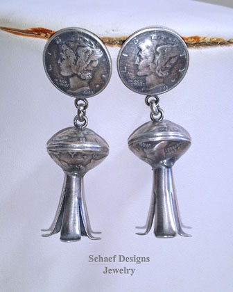 Native American Old Coin Double Mercury Dime Squash Blossom POST Earrings | New Mexico