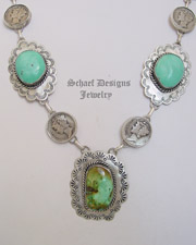 Schaef Designs Mercury Dime Sterling Silver & Turquoise Necklace | Schaef Designs | New Mexico