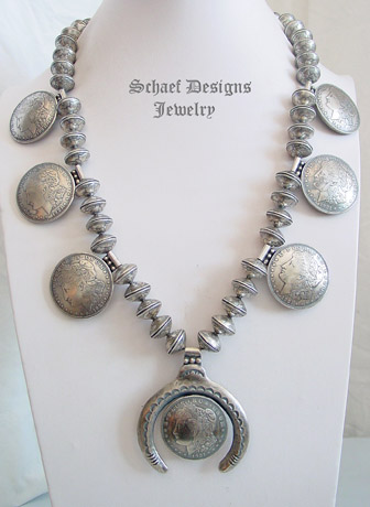 Morgan Dollar Mercury Dime Squash Blossom Necklace Old