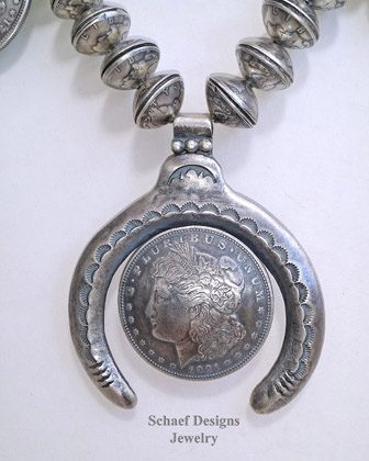 Morgan Dollar Mercury Dime Squash Blossom Necklace | Old Coin Squash Blossom Necklace | New Mexico