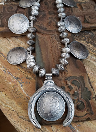 Morgan Dollar Mercury Dime Squash Blossom Necklace | Old Coin Squash Blossom Necklace | Arizona
