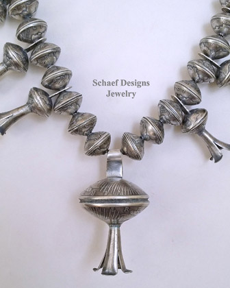 Old Coin Mercury Dime Squash Blossom Necklace w/Morgan Dollar Squash Blossom Pendant | Schaef Designs | New Mexico