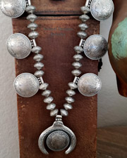 Native American Mercury Dime Bead & Ingot Silver 26 Inch Old Coin Squash Blossom Necklace with Morgan Dollar Squash Blossom Pendant | New Mexico