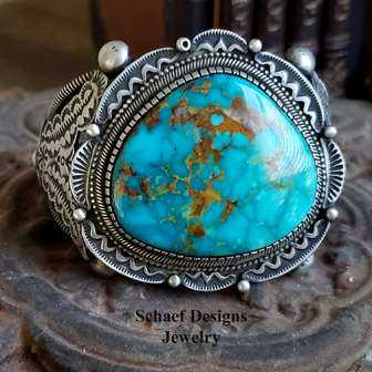 Nelvin Burbank Large Kingman Turquoise & Sterling Silver Cuff Bracelet | Schaef Designs | New Mexico