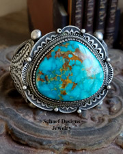 Nelvin Burbank Large Turquoise & Sterling Silver Cuff Bracelet | Southwestern turquoise jewelry | Schaef Designs | New Mexico