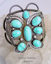 Nelvin Burbank Large Turquoise Buterfly & Sterling Silver Cuff Bracelet | Southwestern Native American turquoise jewelry boutique gallery| Schaef Designs Southwestern turquoise Jewelry | New Mexico