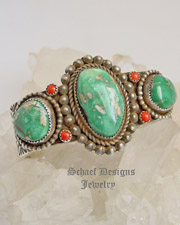 Nelvin Burbank 3 Station Satellite Turquoise & Mediterraean Coral Cuff Bracelet | online upscale native American jewelry boutique gallery| Schaef Designs Southwestern turquoise Jewelry | New Mexico