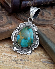 Nelvin Burbank Turquoise & Sterling Silver Pendant | Schaef Designs | New Mexico