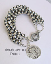 Schaef Designs Sterling Silver 5 Strand Bench Bead Bracelet with Standing Liberty Quarter Reversible Charm | New Mexico