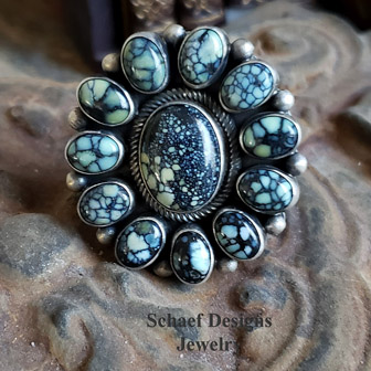 Native American artist signed Bea Tom New Lander Turquoise & Sterling silver cluster ring | Schaef Designs Southwestern, Native American, & turquoise collectible Jewelry | New Mexico