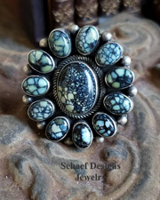 New Lander turquoise & sterling silver cluster ring | Native American Bea Tom hallmark | online upscale native American jewelry boutique gallery| Schaef Designs Southwestern turquoise Jewelry | New Mexico