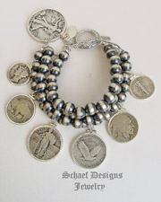 Schaef Designs Old Coin & Navajo Pearl Sterling Silver 3 Strand Charm Bracelet | New Mexico