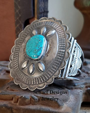 1940's Pawn Concho Large Turquoise & Sterling Silver Cuff Bracelet| Schaef Designs | New Mexico