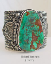 Collectible Pilot Mountain Turquoise & Sterling Silver Cuff by Darryl Cadman | Southwestern turquoise jewelry | online upscale native American jewelry boutique gallery| Schaef Designs Native American Jewelry | New Mexico
