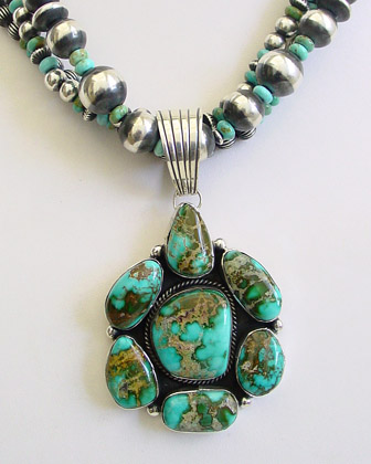 Natural Gem Grade Pilot Mountain Turquoise & sterling silver pendant artist signed & handcrafted by Native American artist LaRose Ganadonegro | online upscale native american turquoise jewelry | Schaef Designs Southwestern turquoise Jewelry | New Mexico