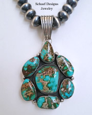 Super Pilot Mountain Turquoise Pendant & 3 strand navajo pearl & turquoise Necklace | Schaef Designs | New Mexico