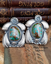 Royston Turquoise Sterling Silver Leaf Flower Native American Unsigned post earrings | Native American Turquoise Jewelry | upscale online turquoise, southwestern, native american, equine, & gemstone jewelry gallery boutique| Schaef Designs artisan handcrafted Jewelry |  New Mexico