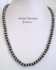 Schaef Designs Navajo Pearl Saucer Sterling Silver Necklace | New Mexico