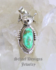 Bennie Ration Small Turquoise & Sterling Silver Kachina Pendant | New Mexico