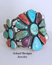 Purple & Orange Spiny Oyster Shell & Turquoise Cluster Cuff Bracelet by Paul Livingston | online upscale native American jewelry boutique gallery| Schaef Designs Southwestern turquoise Jewelry | New Mexico