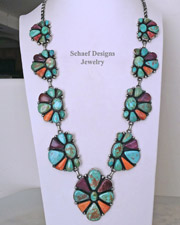 Purple & Orange Spiny Oyster Shell & Turquoise Cluster Necklace by Paul Livingston | Schaef Designs | New Mexico