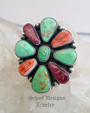 Purple & Orange Spiny Oyster Shell & Turquoise Cluster Ring by Paul Livingston | online upscale native American jewelry boutique gallery| Schaef Designs Southwestern turquoise Jewelry | New Mexico